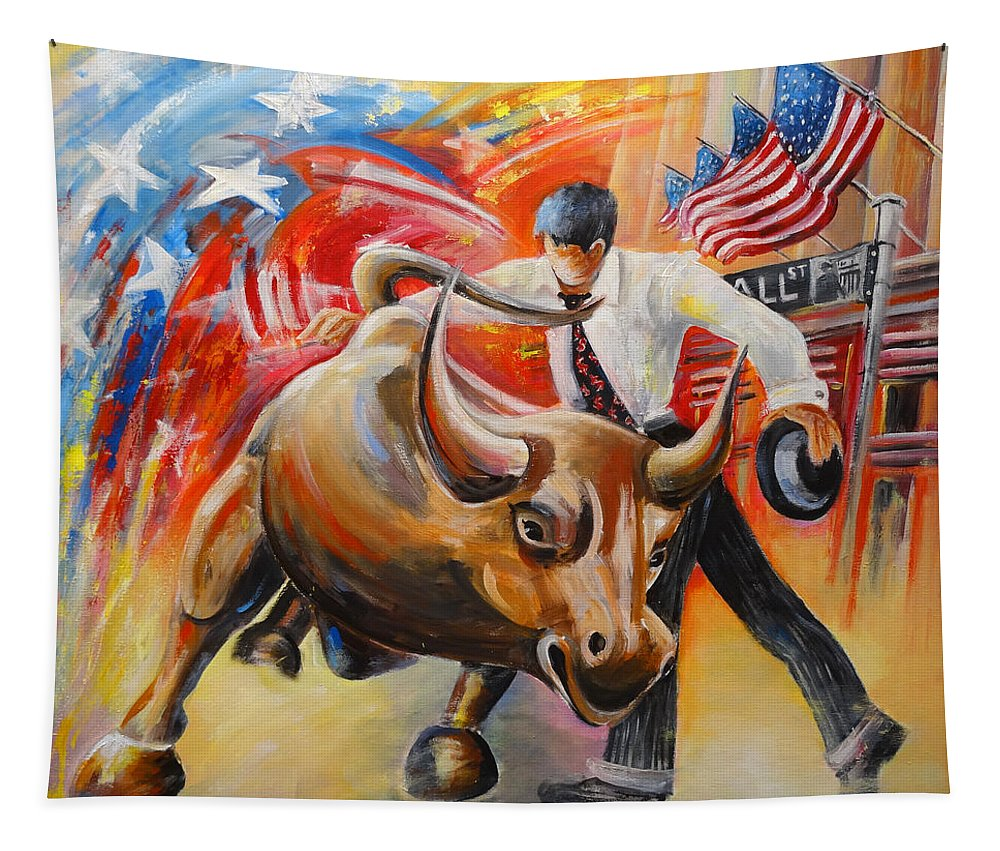 Expressionism Tapestry featuring the painting Taking On The Wall Street Bull by Miki De Goodaboom