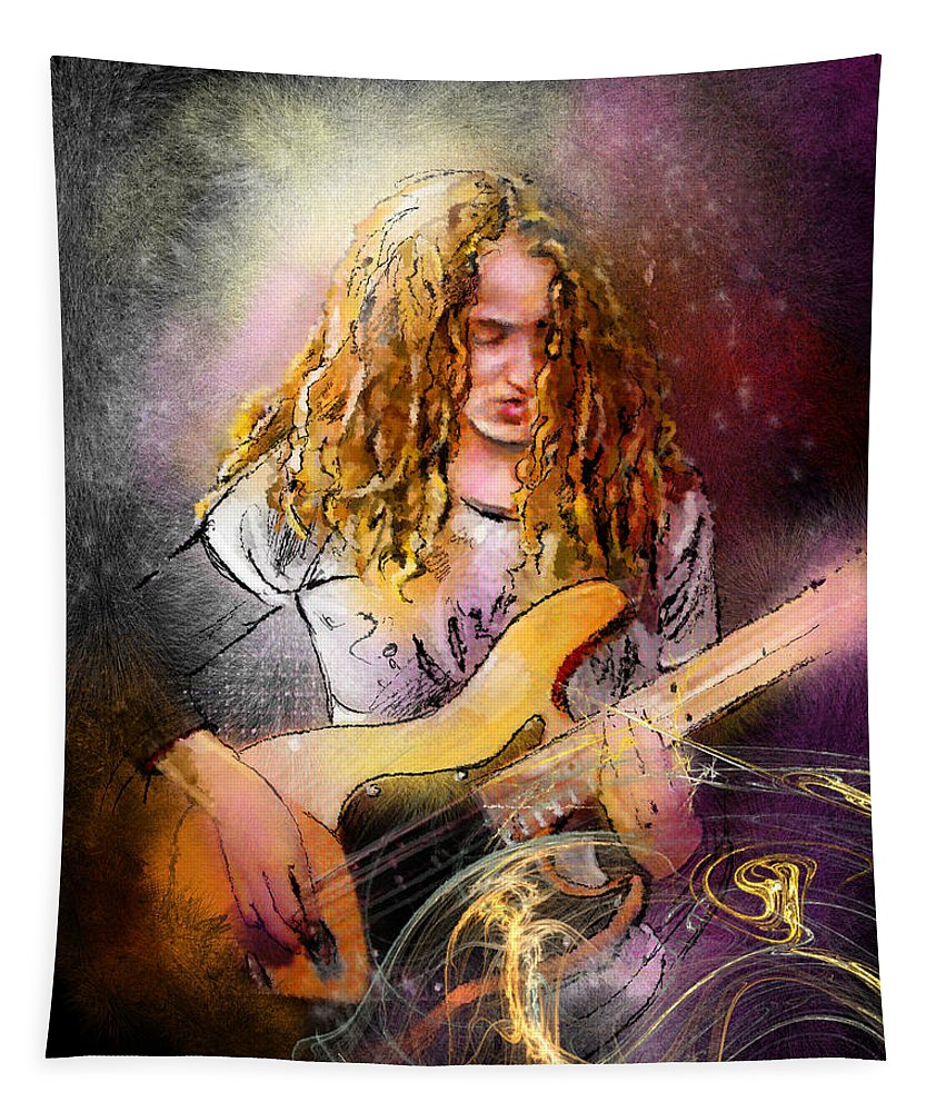 Music Tapestry featuring the painting Tal Wilkenfeld by Miki De Goodaboom