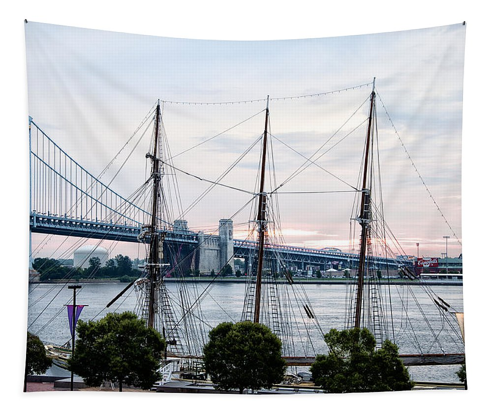 Tall Tapestry featuring the photograph Tall Ship Gazela At Penns Landing by Bill Cannon