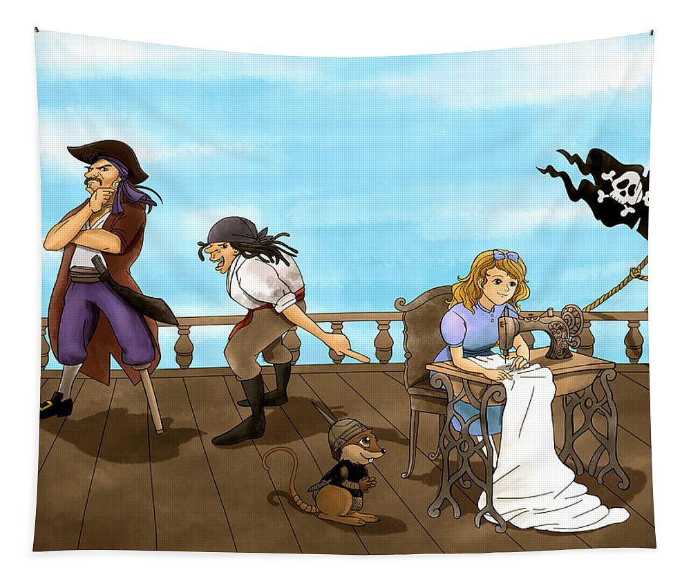 Pirate Tapestry featuring the painting Tammy And The Pirates by Reynold Jay