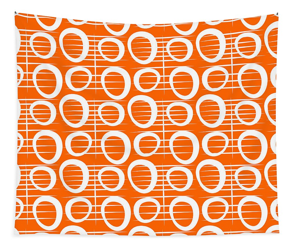 Abstract Tapestry featuring the painting Tangerine Loop by Linda Woods