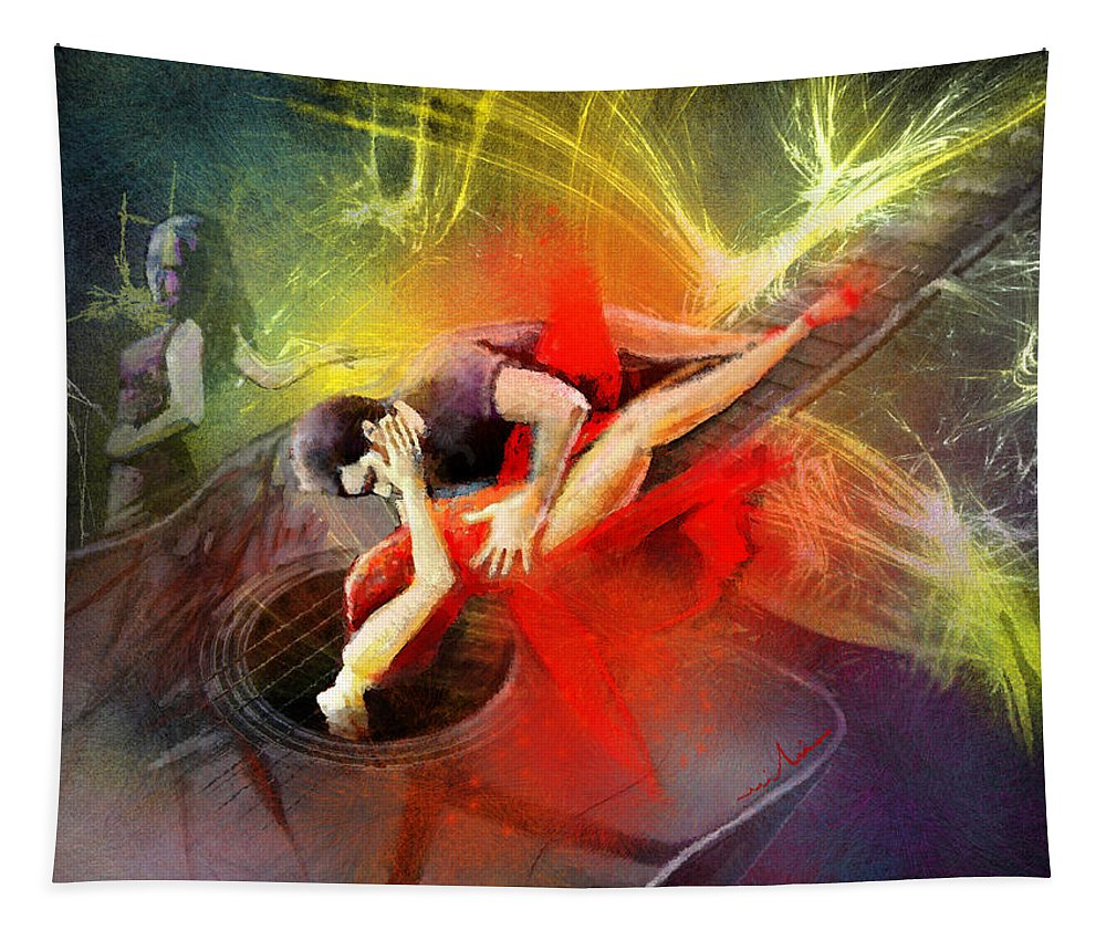Tango Tapestry featuring the painting Tangoscape 06 by Miki De Goodaboom