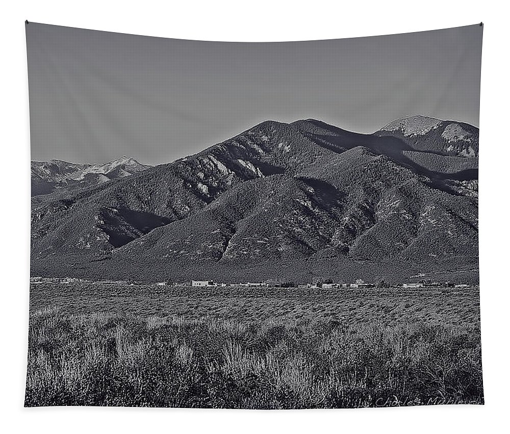 Taos Tapestry featuring the photograph Taos In Black And White II by Charles Muhle