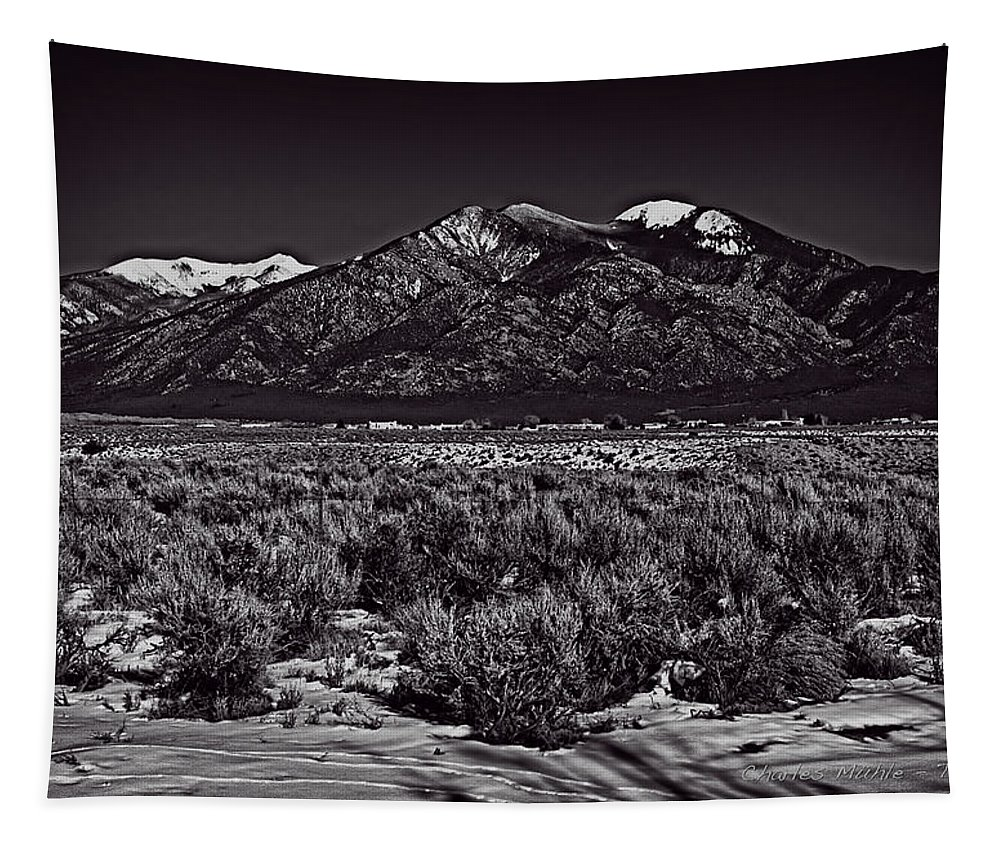 Santa Tapestry featuring the photograph Taos Mountain In Black And White by Charles Muhle