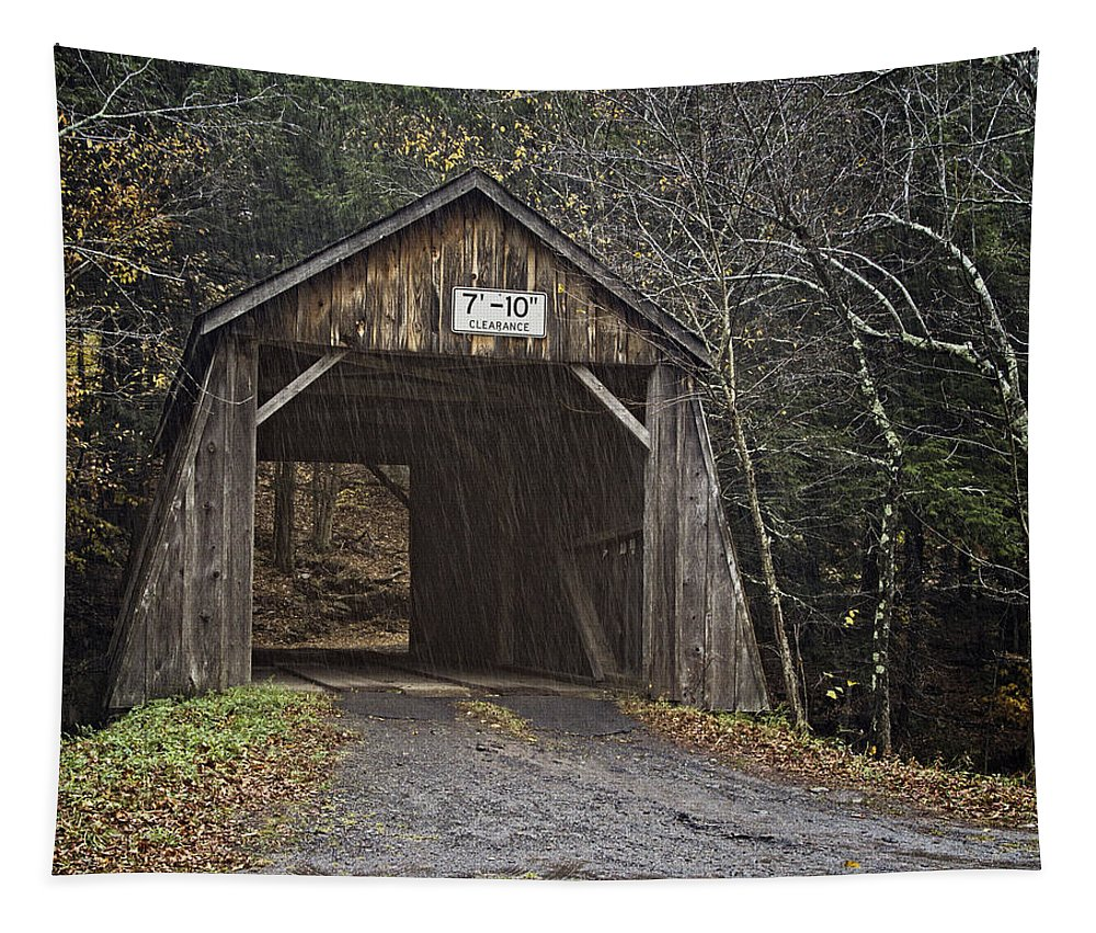 Joan Carroll Tapestry featuring the photograph Tappan Covered Bridge by Joan Carroll