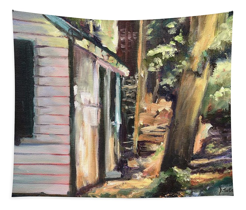 Cabin Tapestry featuring the painting Tara Loon by Donna Tuten