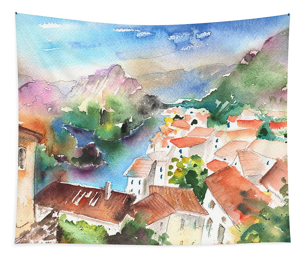Travel Tapestry featuring the painting Tarascon Sur Ariege 02 by Miki De Goodaboom