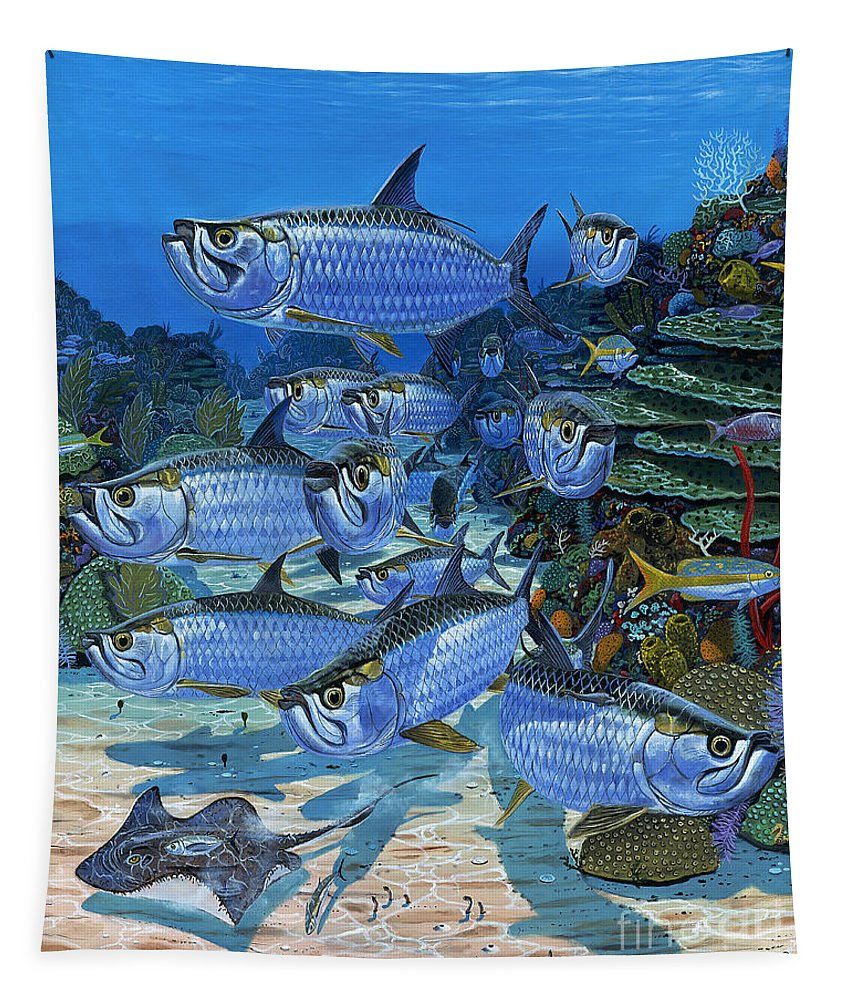 Tarpon Tapestry featuring the painting Tarpon Alley In0019 by Carey Chen