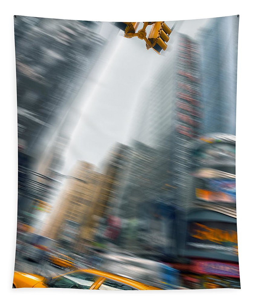 Yellow Cab Tapestry featuring the photograph Taxi On Times Square by Delphimages Photo Creations
