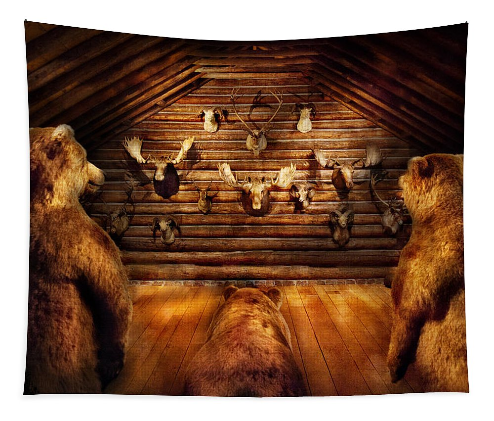 Hdr Tapestry featuring the photograph Taxidermy - Home Of The Three Bears by Mike Savad