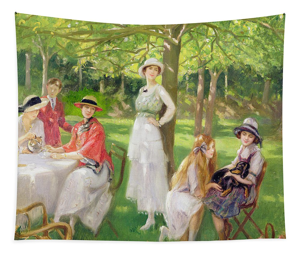 Garden Tapestry featuring the painting Tea In The Garden by Jules Cayron