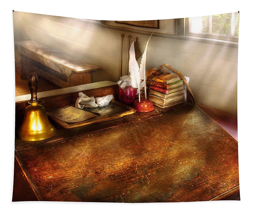 Savad Tapestry featuring the photograph Teacher - The School Room by Mike Savad