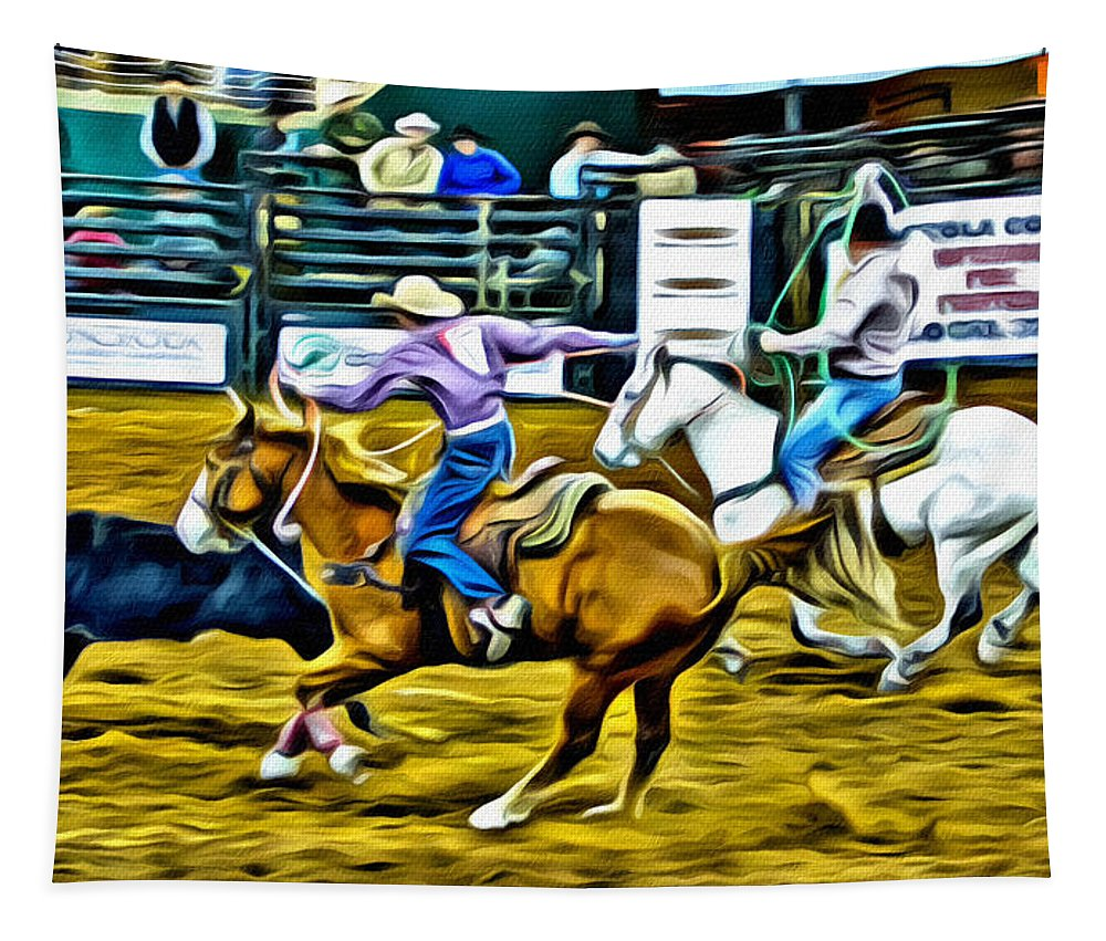 Team Ropers Tapestry featuring the photograph Team Ropers by Alice Gipson