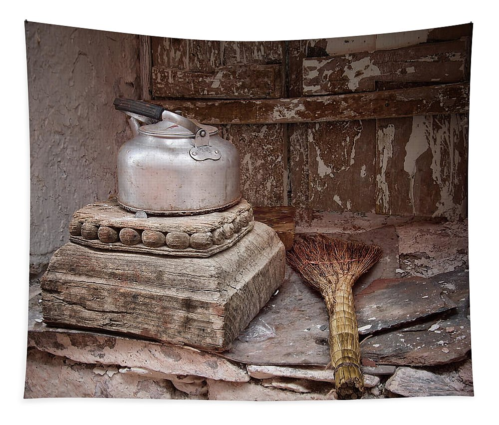 Still Life Tapestry featuring the photograph Teapot And Broom by Joan Carroll