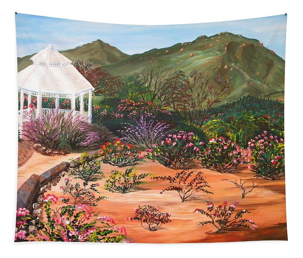 Temecula Heritage Rose Garden Tapestry featuring the painting Temecula Heritage Rose Garden by Eric Johansen
