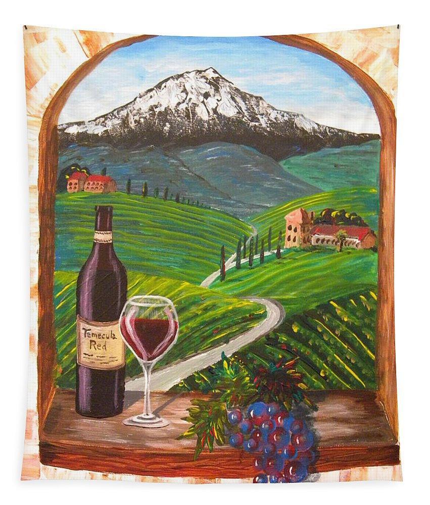 Merlot Tapestry featuring the painting Temecula Red by Eric Johansen