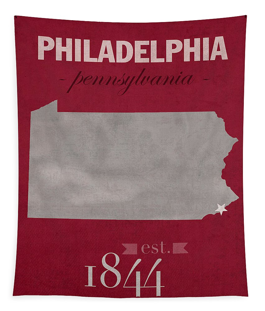 Temple University Tapestry featuring the mixed media Temple University Owls Philadelphia Pennsylvania College Town State Map Poster Series No 103 by Design Turnpike