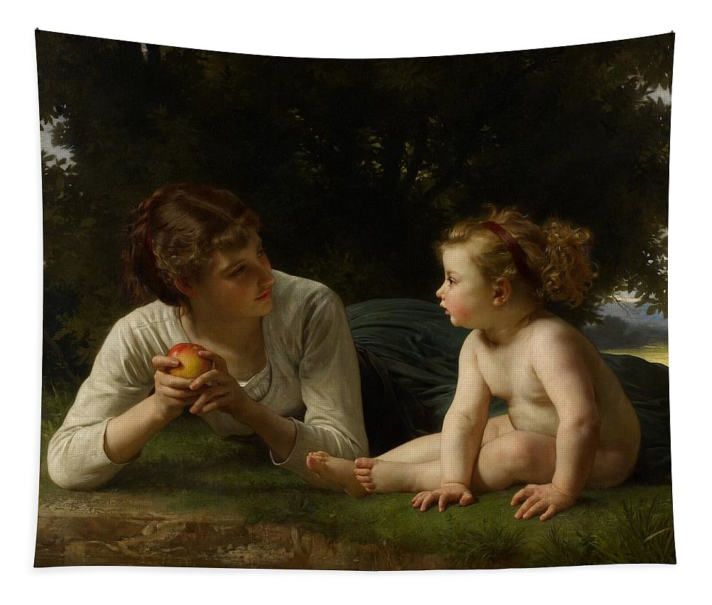 Woman Tapestry featuring the painting Temptation by William Adolphe Bouguereau