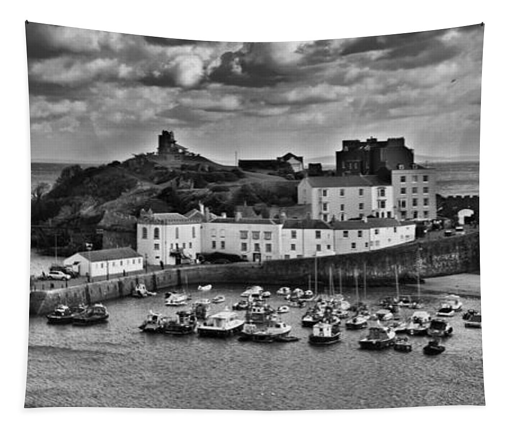 Tenby Tapestry featuring the photograph Tenby Panorama 1 Mono by Steve Purnell
