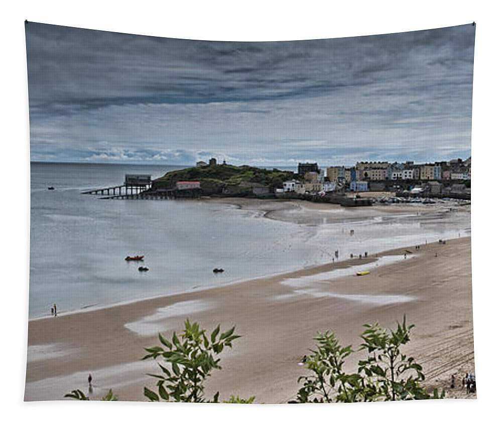 Tenby Tapestry featuring the photograph Tenby Panorama 3 by Steve Purnell