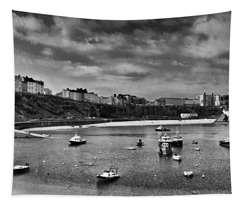 Tenby Tapestry featuring the photograph Tenby Panorama Mono 2 by Steve Purnell