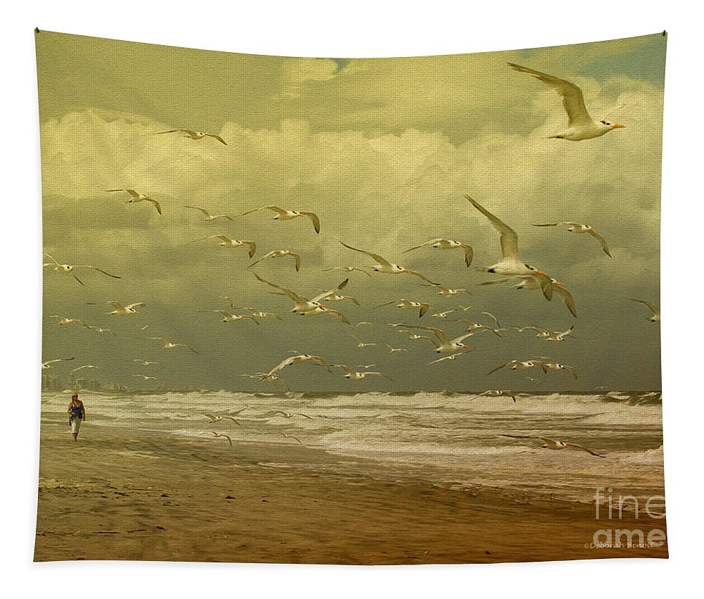 Terns Tapestry featuring the photograph Terns In The Clouds by Deborah Benoit