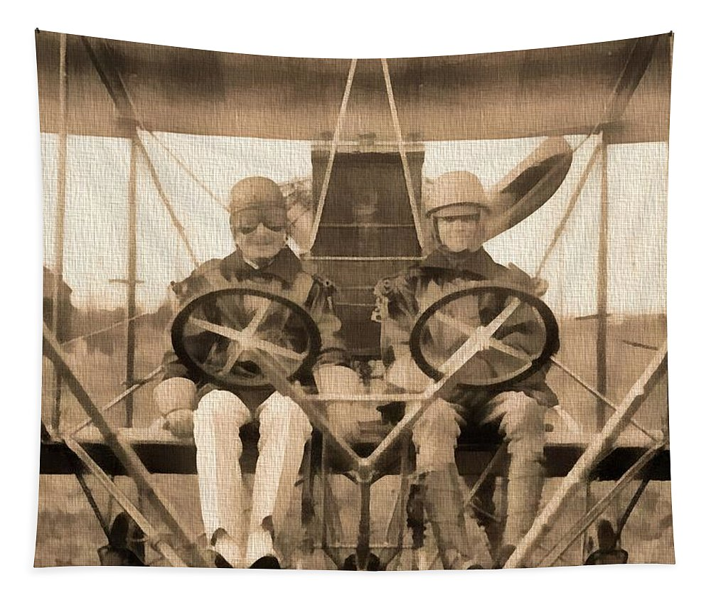 Test Of A Curtiss Plane 1912 Tapestry featuring the photograph Test Of A Curtiss Plane 1912 by Dan Sproul