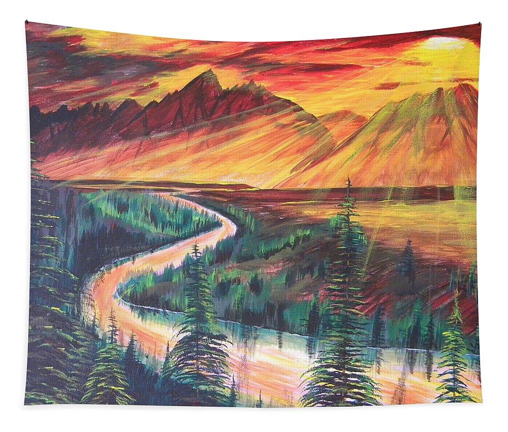 Grand Tetons Tapestry featuring the painting Teton Sunset by Eric Johansen