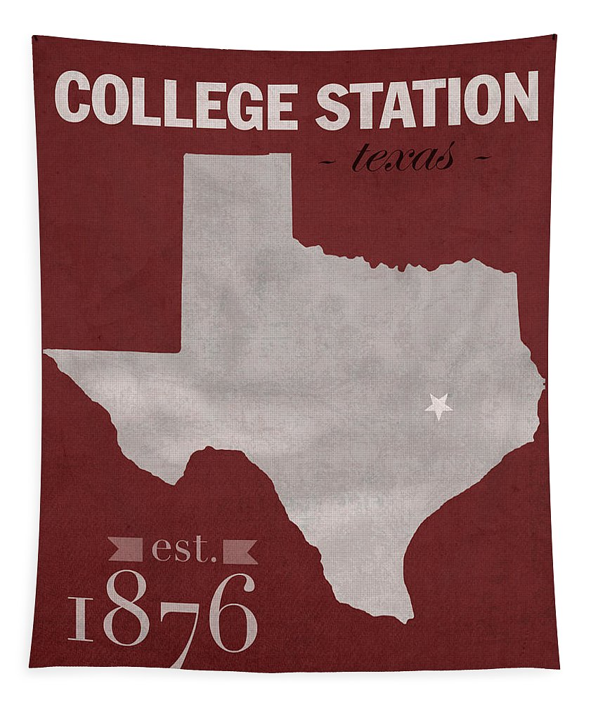 Texas A And M Tapestry featuring the mixed media Texas A And M University Aggies College Station College Town State Map Poster Series No 106 by Design Turnpike