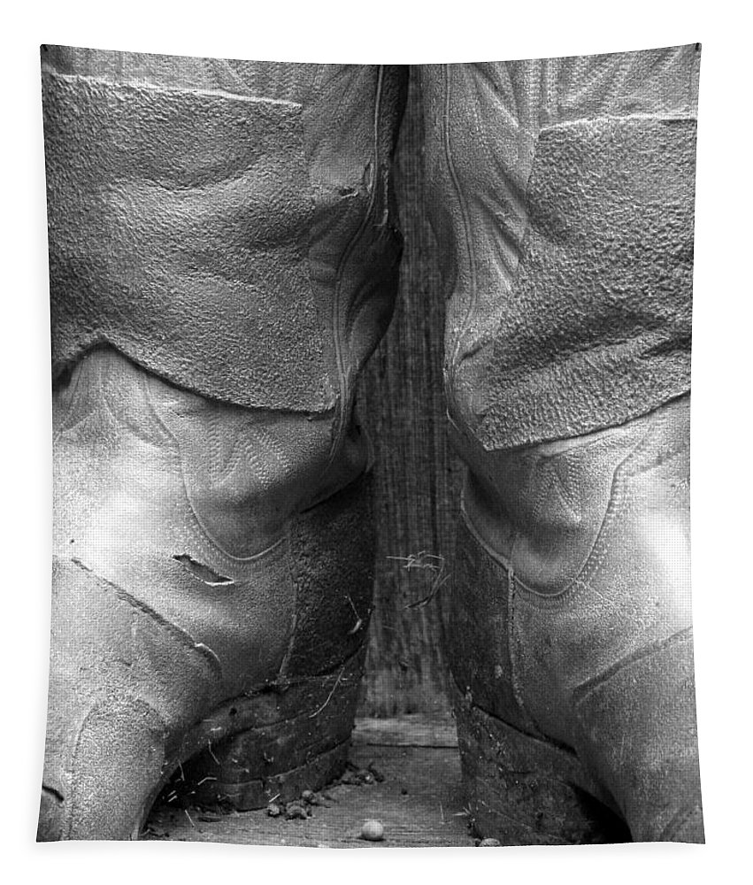 Boots Tapestry featuring the photograph Texas Boots Portrait - Bw 01 by Pamela Critchlow