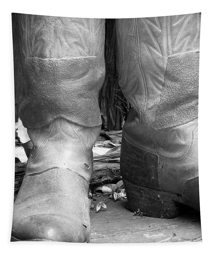 Boots Tapestry featuring the photograph Texas Boots Portrait - Bw 02 by Pamela Critchlow
