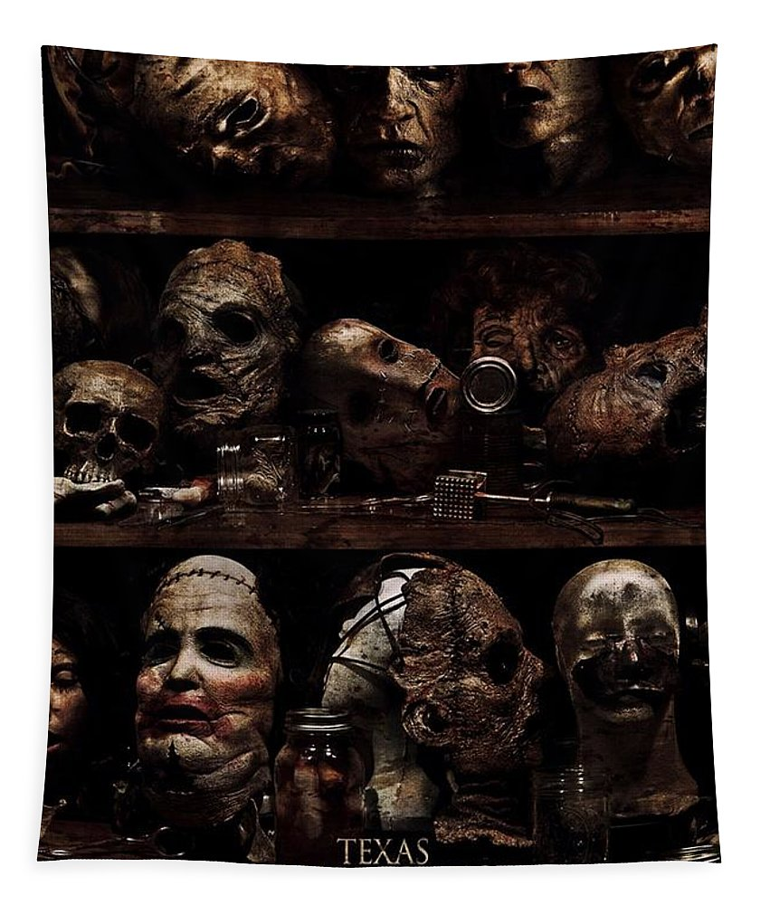 Texas Chainsaw Tapestry featuring the photograph Texas Chainsaw 3d Faces by Movie Poster Prints