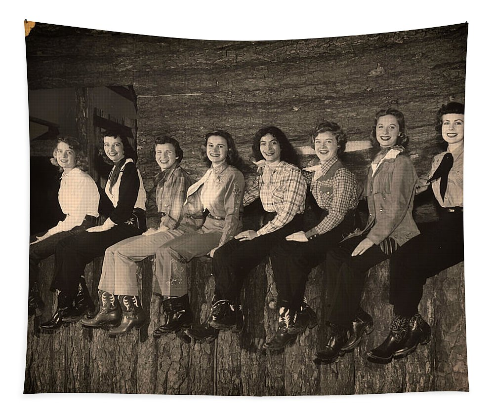 Texas Tapestry featuring the photograph Texas Cowgirls 1950s by Mountain Dreams