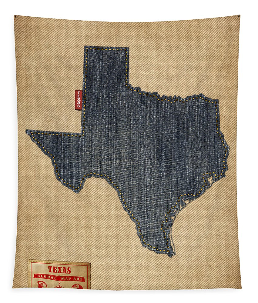 United States Map Tapestry featuring the digital art Texas Map Denim Jeans Style by Michael Tompsett