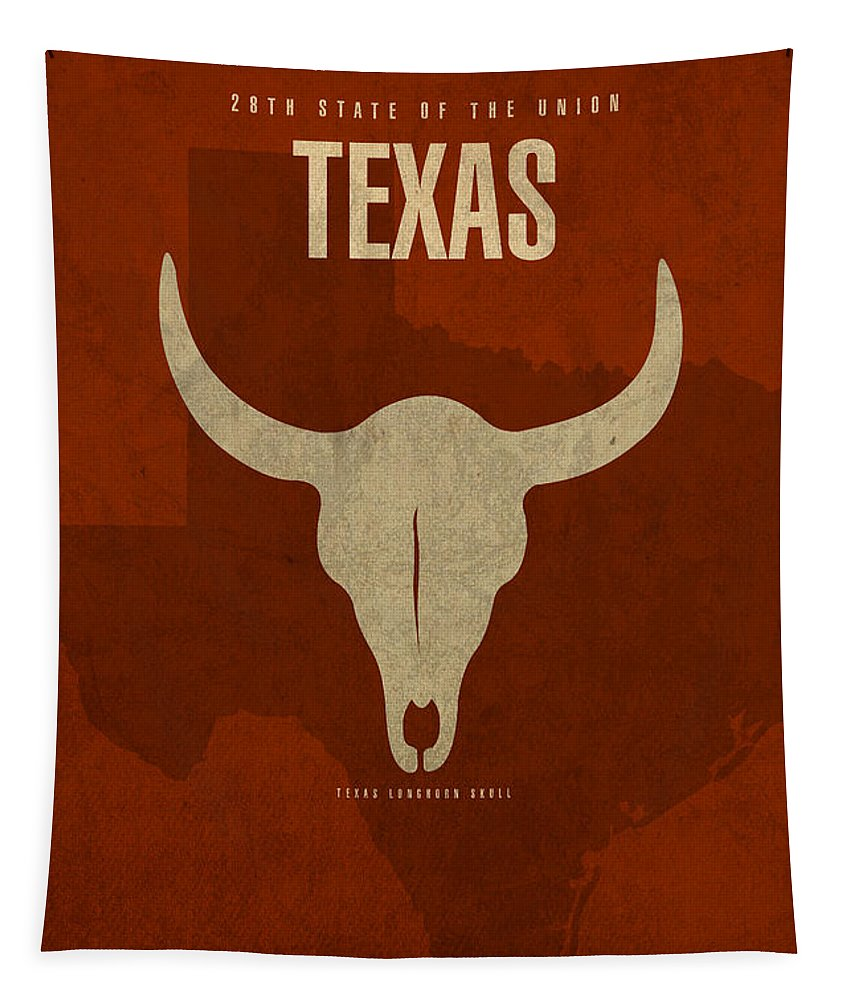 Texas Tapestry featuring the mixed media Texas State Facts Minimalist Movie Poster Art by Design Turnpike
