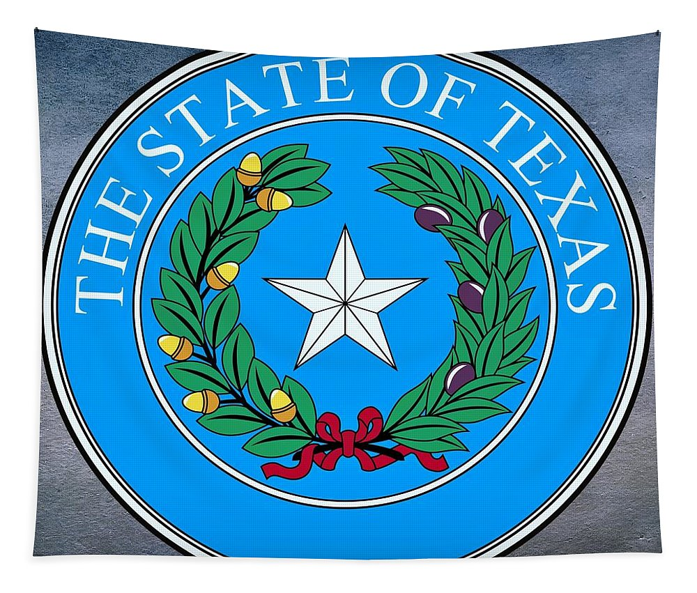 Texas Tapestry featuring the digital art Texas State Seal by Movie Poster Prints