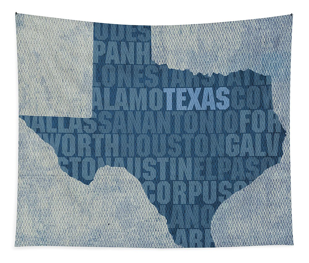 Texas Word Art State Map On Canvas Dallas San Antonio Houston Galveston Austin El Paso Fort Worth Texan Lone Star Usa America Alamo Tapestry featuring the mixed media Texas Word Art State Map On Canvas by Design Turnpike