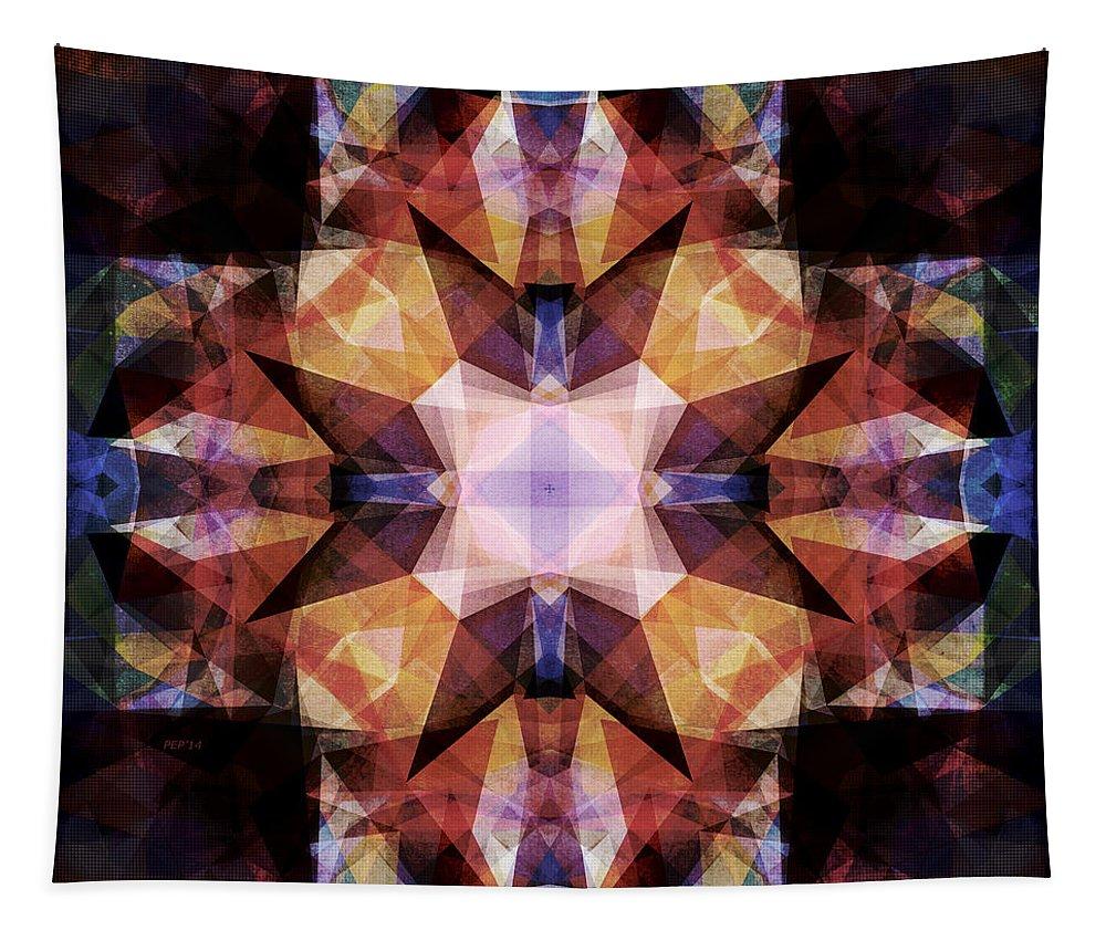 Geometric Tapestry featuring the digital art Textured Geometric Mandala by Phil Perkins