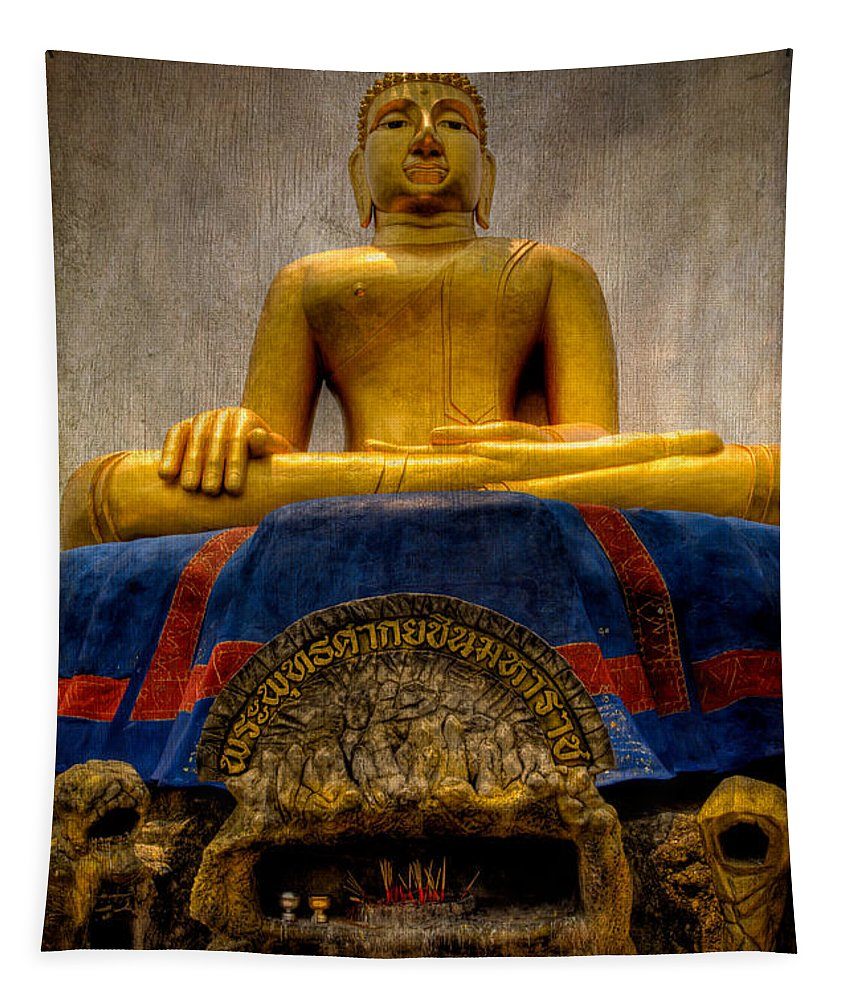 Hdr Tapestry featuring the photograph Thai Golden Buddha by Adrian Evans