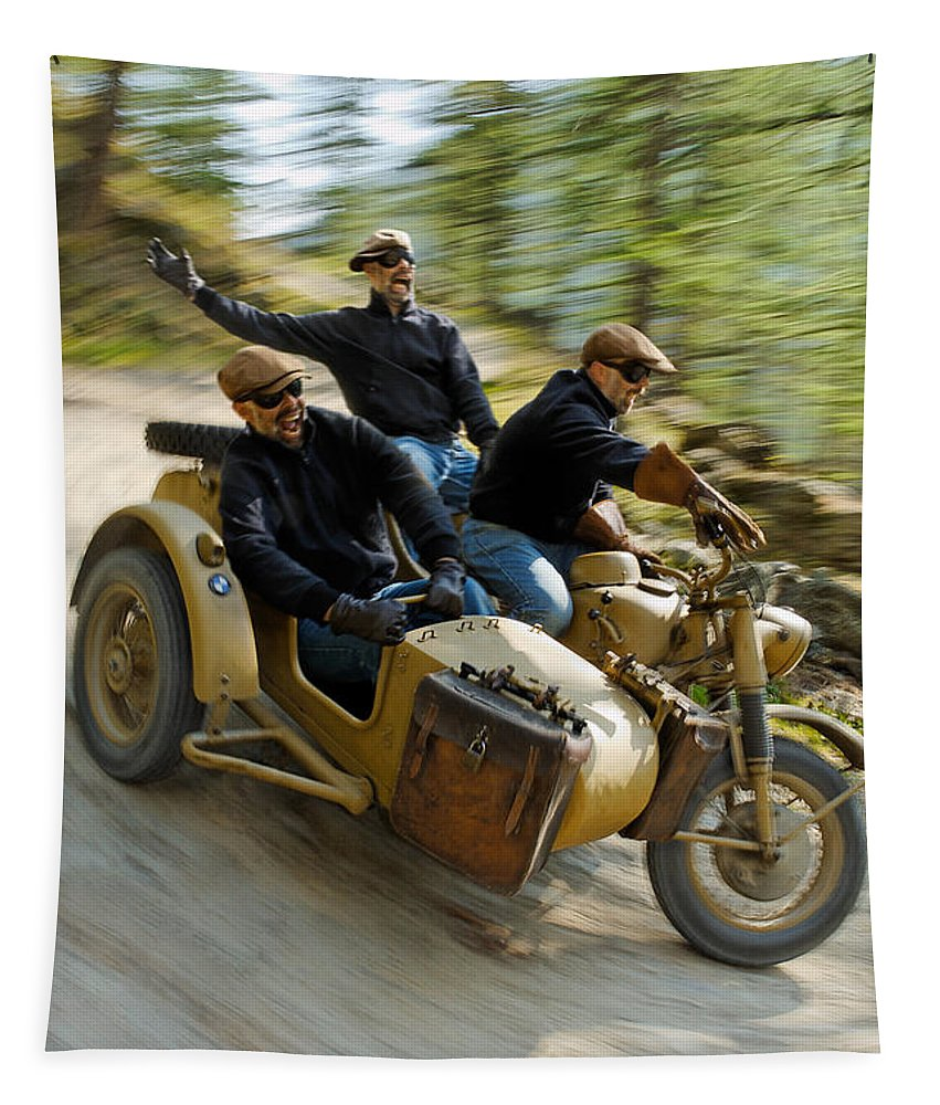 Motorcycle Tapestry featuring the photograph That's The Way To Ride An Army Bmw R75 by Frank Kletschkus