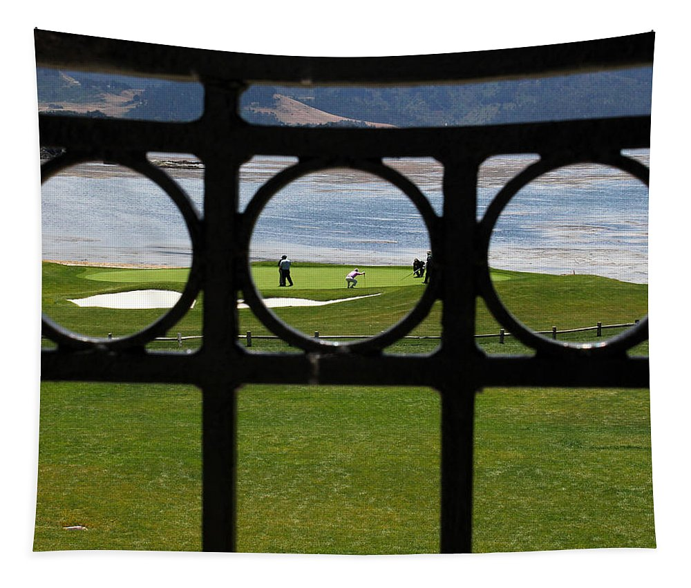17 Mile Drive Tapestry featuring the photograph The 18th Hole by Judy Vincent