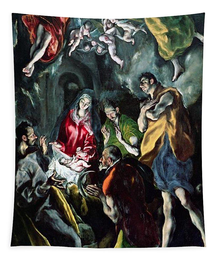 Putti; Angels; Self Portrait; Adoration Des Bergers; Nativity; Infant Christ; Jesus; Virgin Mary; Madonna; Joseph; Shepherd Tapestry featuring the painting The Adoration Of The Shepherds From The Santo Domingo El Antiguo Altarpiece by El Greco Domenico Theotocopuli