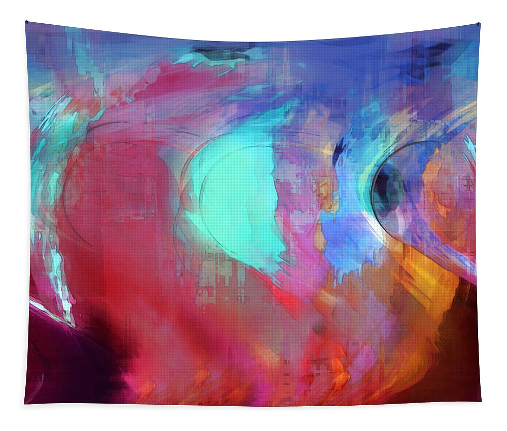 Abstract Tapestry featuring the digital art The Afterglow by Linda Sannuti