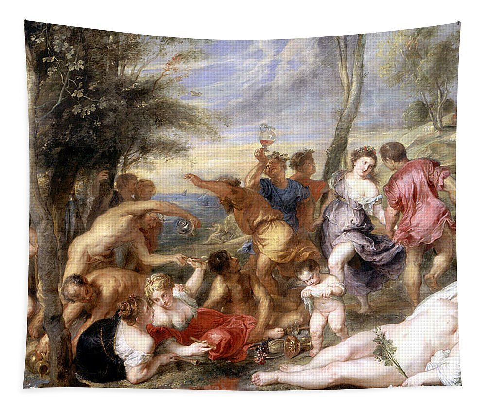 Titian's Original In Prado; Andrian; Andros; Bacchanale; Bacchic; Revelry; Drinking; Landscape; Drunk; Female; Nude; Party; Merrymaking; River Of Wine; Bacchanalian; Bacchanal; Dionysian Tapestry featuring the painting The Andrians A Free Copy After Titian by Peter Paul Rubens