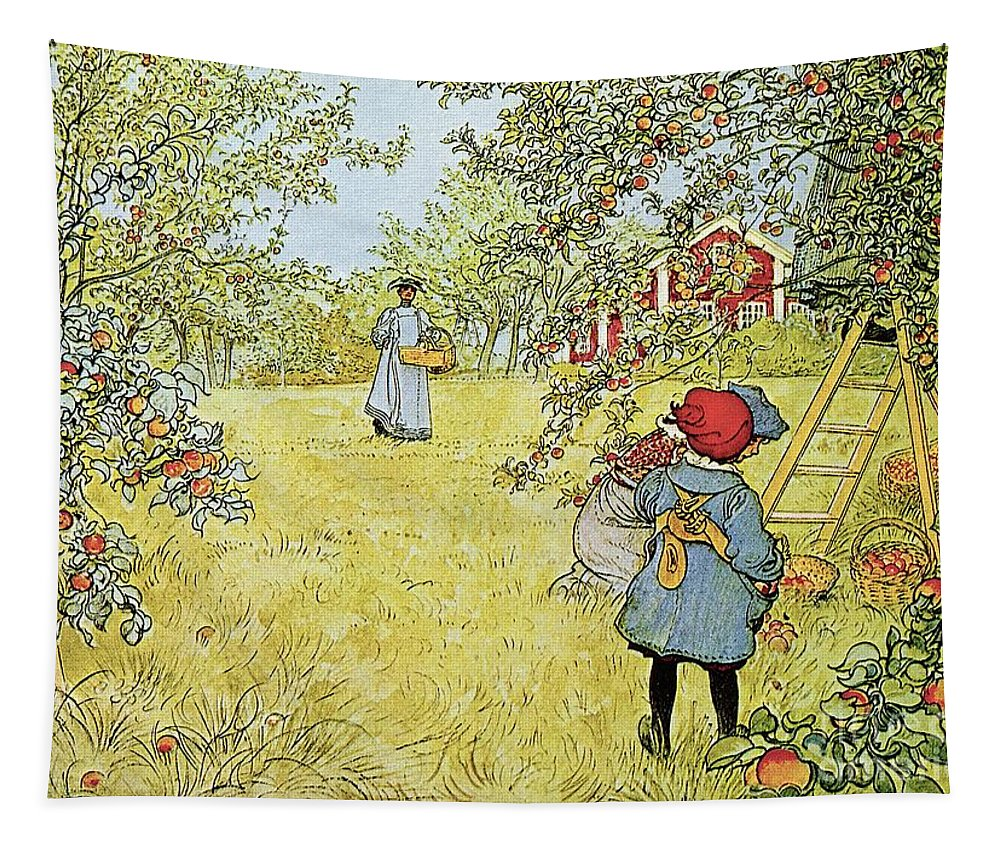 Fruit Tapestry featuring the painting The Apple Harvest by Carl Larsson