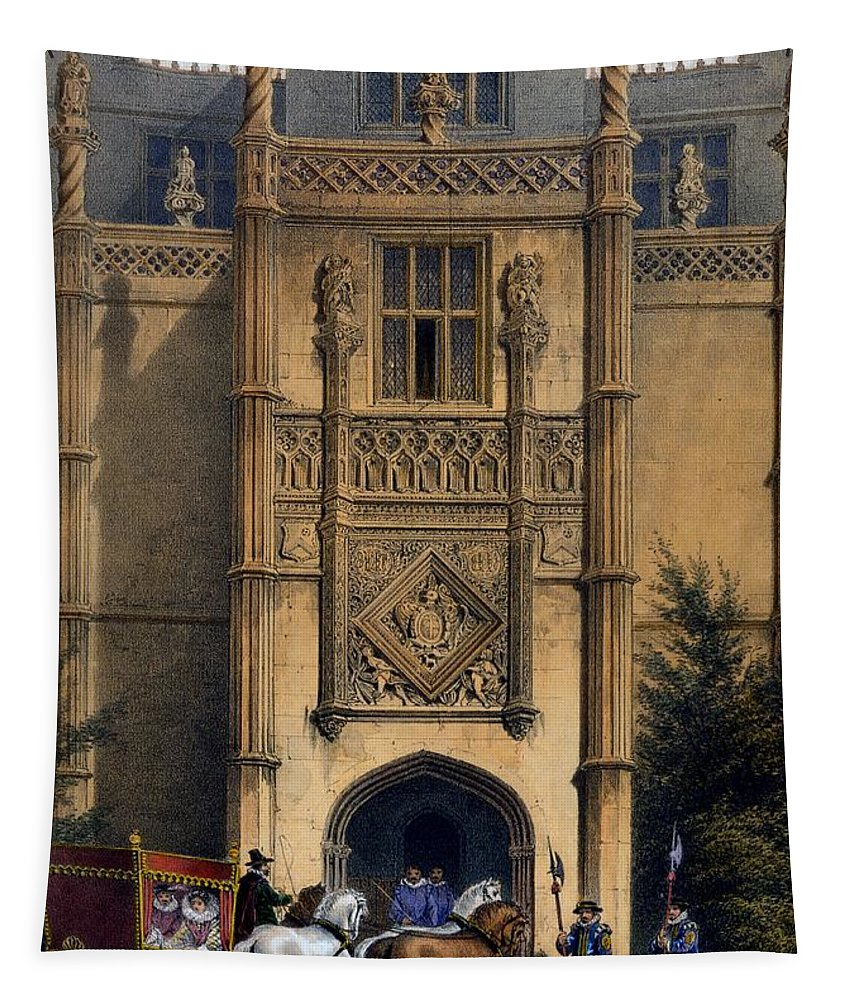 Elizabethan Tapestry featuring the drawing The Arch, Montacute House, Somerset by Joseph Nash