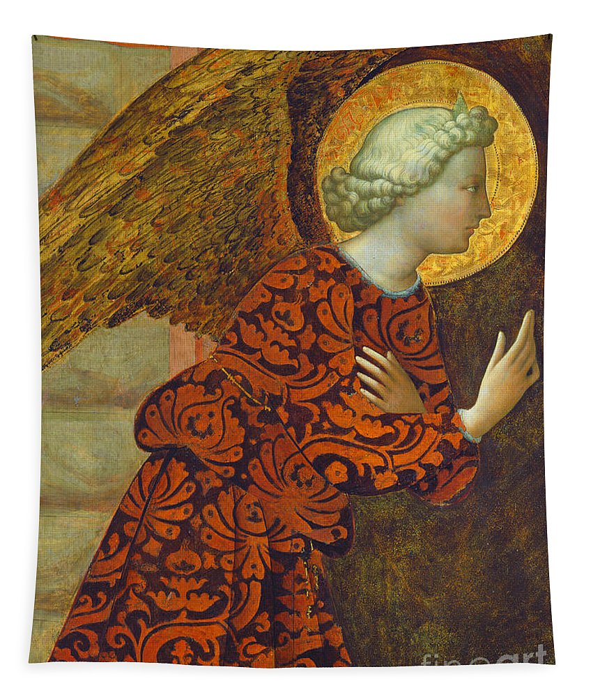 Angel Tapestry featuring the painting The Archangel Gabriel by Tommaso Masolino da Panicale