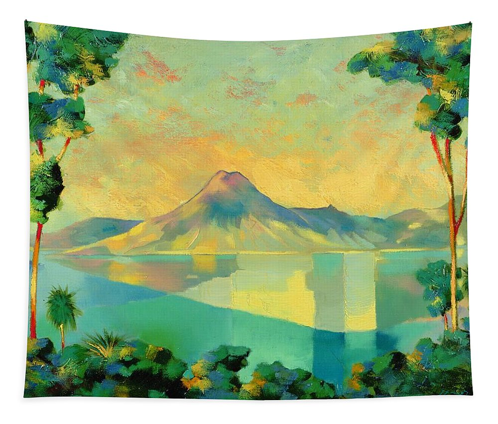 Lake Atitlan Tapestry featuring the painting The Art Of Long Distance Breathing by Andrew Hewkin