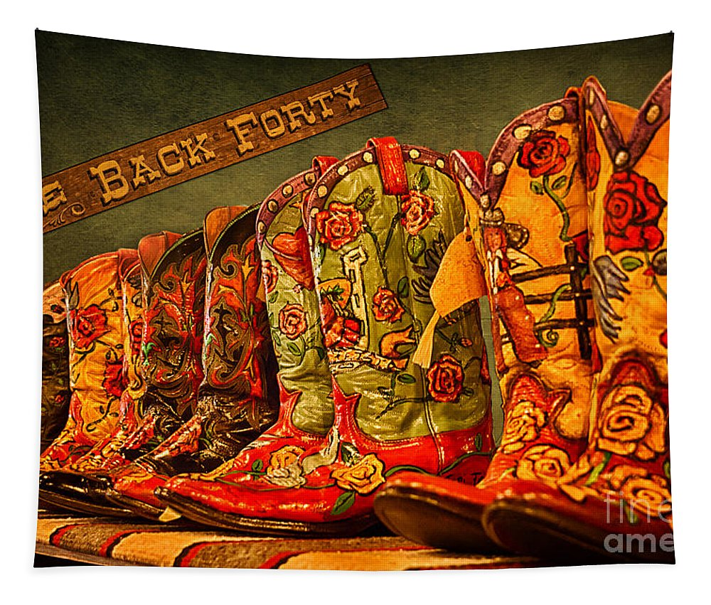 Cowgirl Boots Tapestry featuring the photograph The Back Forty Boots Are Made For Dancin' by Priscilla Burgers