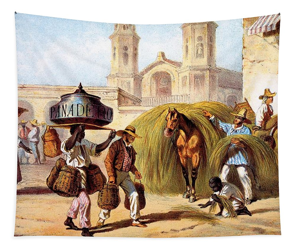 Cuba Tapestry featuring the drawing The Baker And The Straw Seller, 1840 by Federico Mialhe